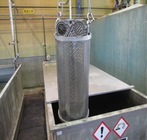 プレート式熱交換器を薬液洗浄
