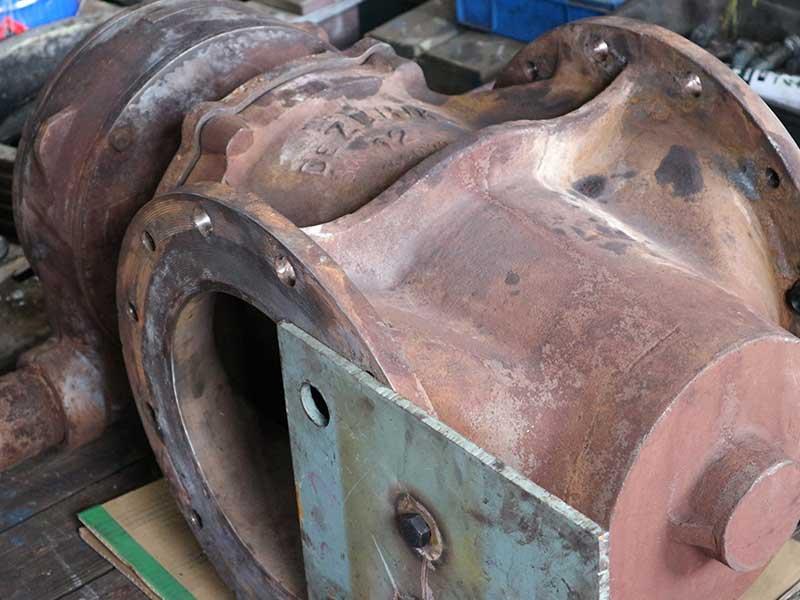 バルブの軸部を補修した事例(加速冷却設備の三方弁)